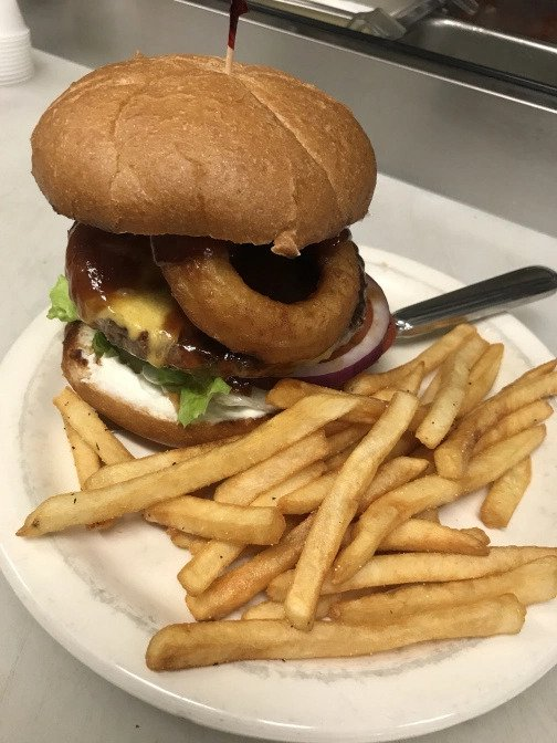 Pour Sports offers onion ring burgers