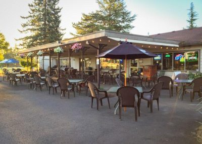 Outdoor seating at Pour Sports in East County